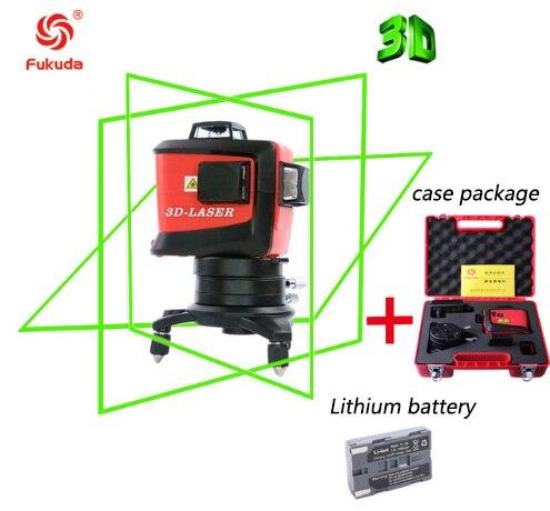 Fukuda бренд 12 линий 3D MW93T-3GX лазерный уровень самонивелирующийся 360 горизонтальный и вертикальный крест супер мощный зеленый лазерный луч - Цвет: 93T-Green-Li