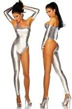 (CM-16) Silver Black Gold Metallic Spandex Catsuit/Body Suits for Club Wear Jumpsuit Lingerie Unitard costumes