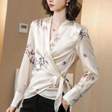 Korean Silk Women Blouses Woman Satin Print Shirt Women Long Sleeve Silk Blouse Tops Plus Size Elegant Woman Satin Floral Blouse