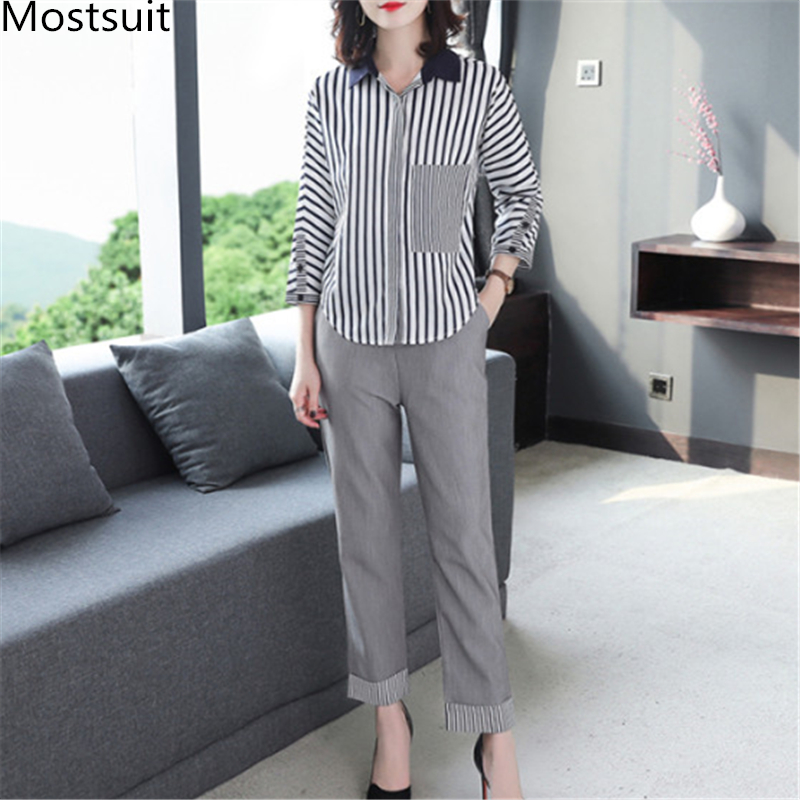 2019 Autumn Grey Striped Office Two Piece Sets Outfits Women Plus Size Long Sleeve Shirts And High Waist Pants Elegant OL Suits 31