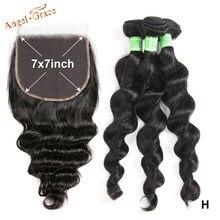 Tissage en lot brésilien avec Closure – Angel Grace, cheveux Remy, Loose Deep Wave, avec Swiss Lace Closure, 7x7, 100% de densité