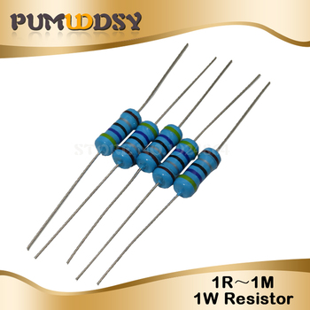 Металлический пленочный резистор, 50 шт., 1 Вт, 1% 1R ~ 1 м 2R 10R 22R 47R 100R 330R 1K 4,7 K 10K 22K 47K 100K 330K 470K 1 2 10 22 47 100 330 ом