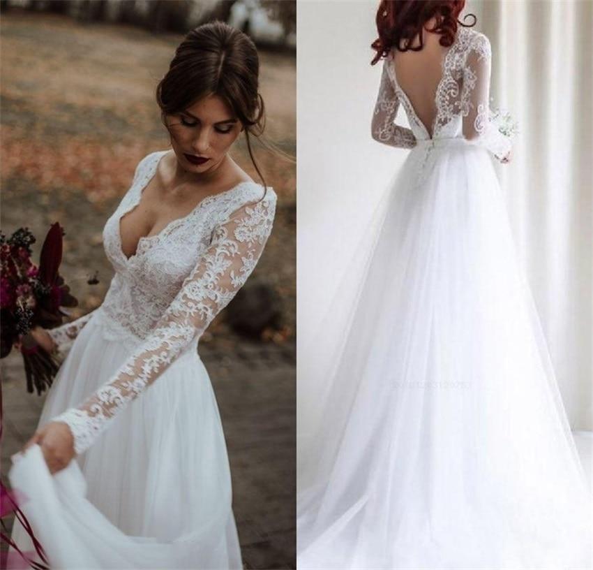 2020 A-line Long Sleeves Wedding Dresses Lace Tulle Backless Bridal Gowns Boho Vestidos De Novia Sexy V-neck Custom Made