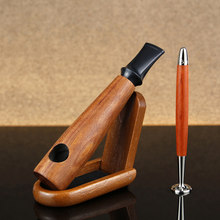 New Straight Tobacco Pipe Set Wooden Stand 2in1 Multifunction Tool Cigar Style Smoking Pipe 9mm Filter Rose Wood Pipe(China)