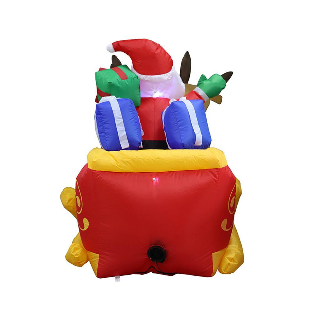 220cm gigante inflável papai noel duplo veado trenó explodir brinquedos divertidos para a criança presentes de natal festa de halloween prop led iluminado - 3