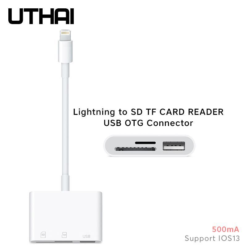 UTHAI C53 SD TF To Lightning Card Reader USB OTG Adapter Camera SD MicroSD Card Reading For IPhone 11 X IOS13 USB Otg Converter