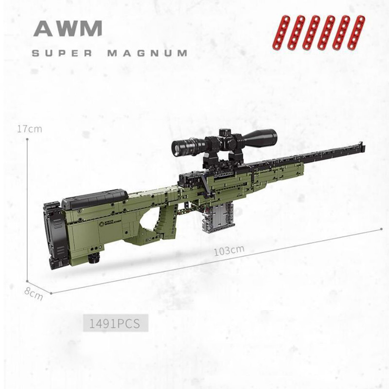 Modern Military World War Gun Building Block Weapon AWM Sniper Rifle Model Bricks With Shooting Assemblage Toys Collection