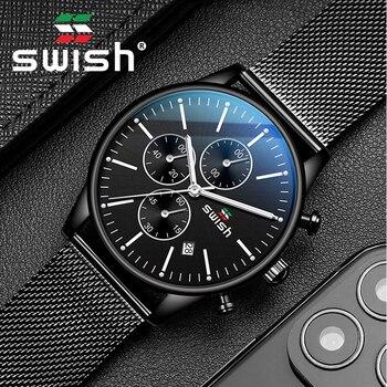 SWISH 2020 Reloj hombre Stainless Steel Watch Men Luxury Brand Famous 3bar Quartz Wristwatches Sports Chronograph Montre Homme - discount item  60% OFF Men's Watches