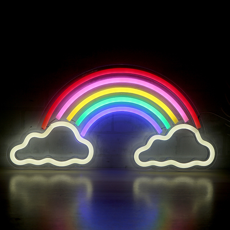 Colorful Rainbow Cloud Neon Sign LED Night Light Table Lamp Neon Light Photography Prop Room Decor Shop Wedding Wall Decoration