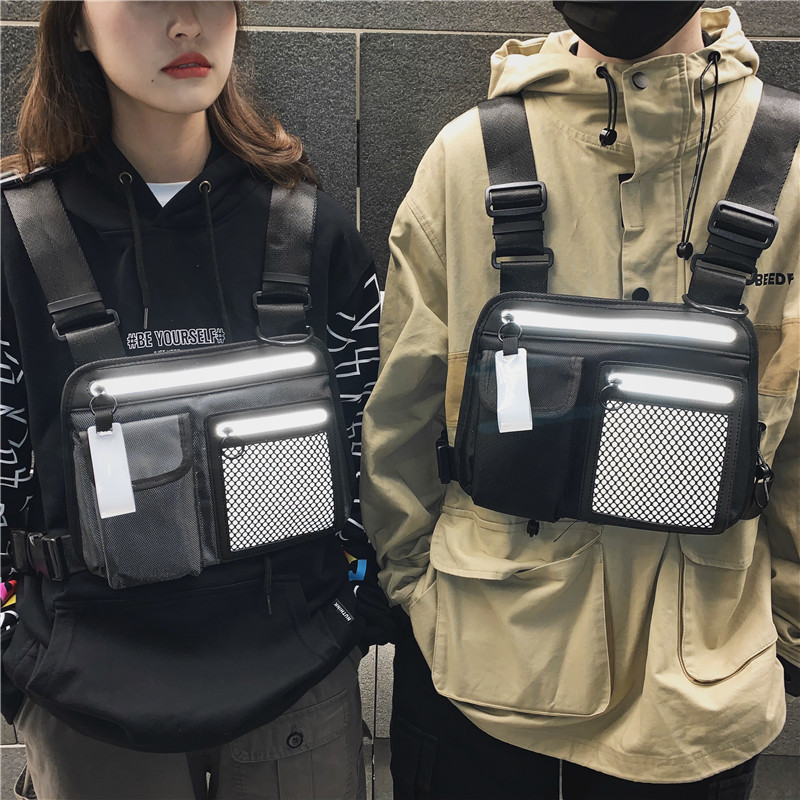 Men's Tactical Chest Rig Bag Hip Hop Streetwear Women Waist Bags Functional Crossbody Vest Pack Adjustable Luminous Chest Bag