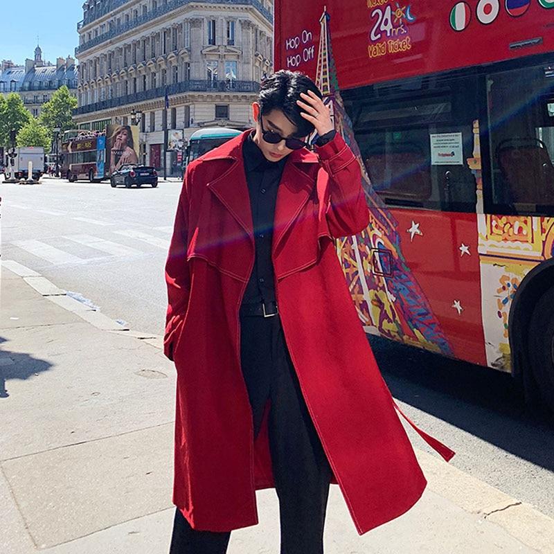 Men Loose Casual Long Jacket Trench Coat Outerwear Male Women Vintage Streetwear Hip Hop Red Cardigan Windbreaker Overcoat