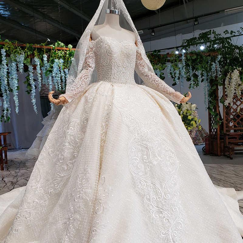 HTL429G skromne suknie ślubne suknie ślubne z welon ślubny off ramię przepiękna suknia balowa suknia ślubna vestido de noiva