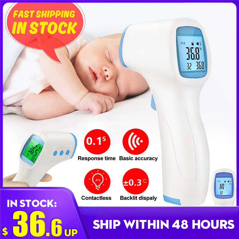 CE Non-contact Body Thermometer Forehead Digital Infrared Thermometer Portable Termometro Baby/Adult Temperature+2pcs Dust Masks