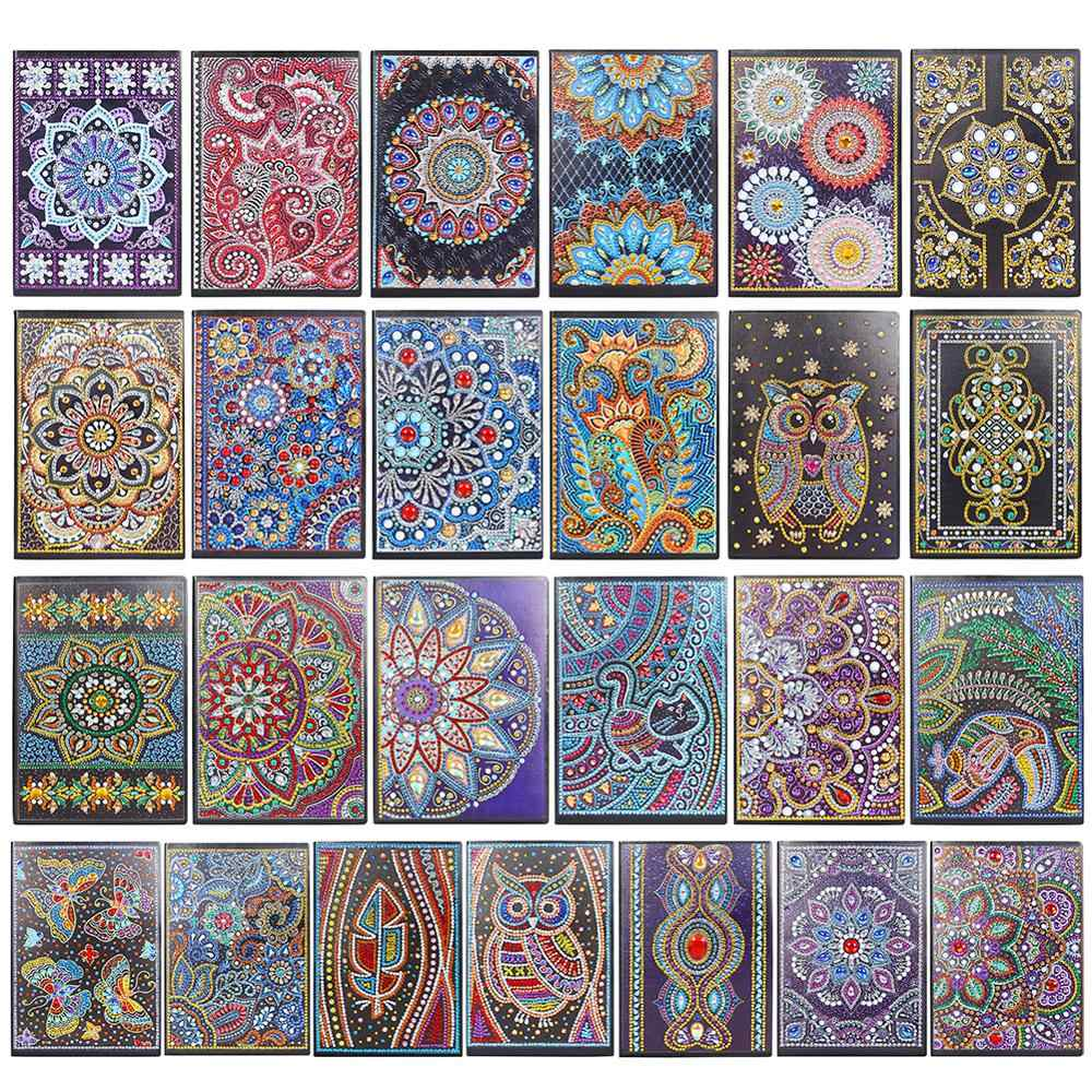 50 Halaman Lukisan Berlian Notebook DIY Mandala Berbentuk Khusus Diamond Bordir Cross Stitch A5 Notebook Buku Diary