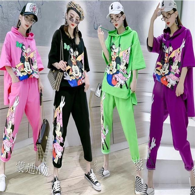 Spring Summer Loose 2 Pieces Women's Cute Cartoon Print Tracksuits Twinsets Hooded Blouses Tops And Casual Pants Suits NS680