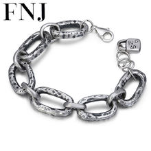 FNJ 990 Silver Bracelet 17cm Big Link Chain Width 14mm Original Pure S990 Silver Bracelets for Women Jewelry Fine(China)