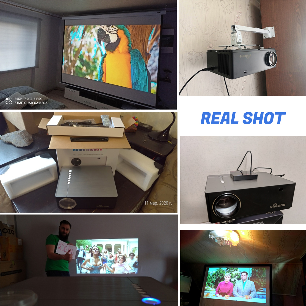 Vivicine M20 Newest 1080p Projector,Option Android 10.0 1920x1080 Full HD LED Home Theater Video Proyector Beamer Support AC3 2