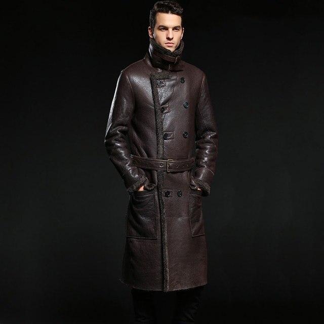 Nouveau chaud hiver en peau de mouton hommes veste en cuir hommes loisirs manteau de fourrure hommes marque de luxe en cuir véritable manteau