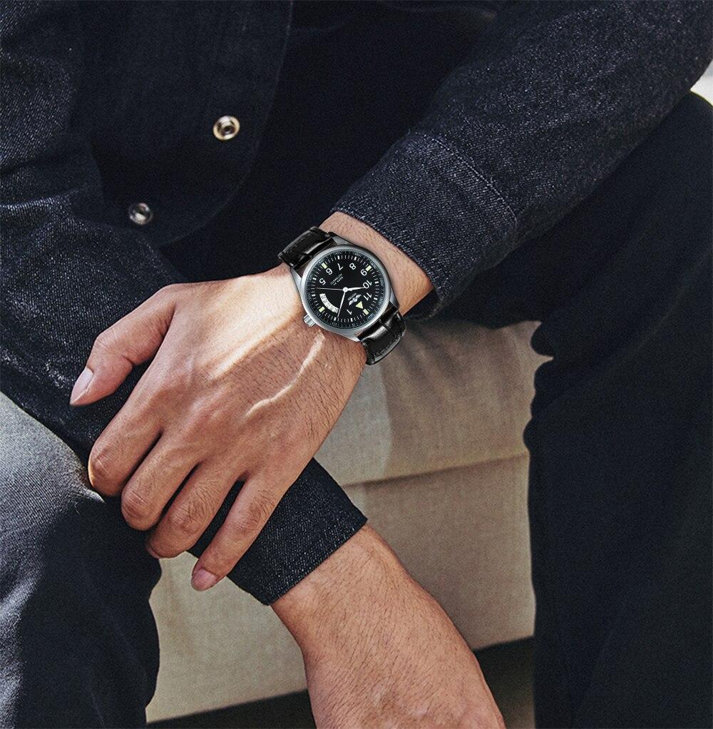 data display mostrador preto pulseira de couro