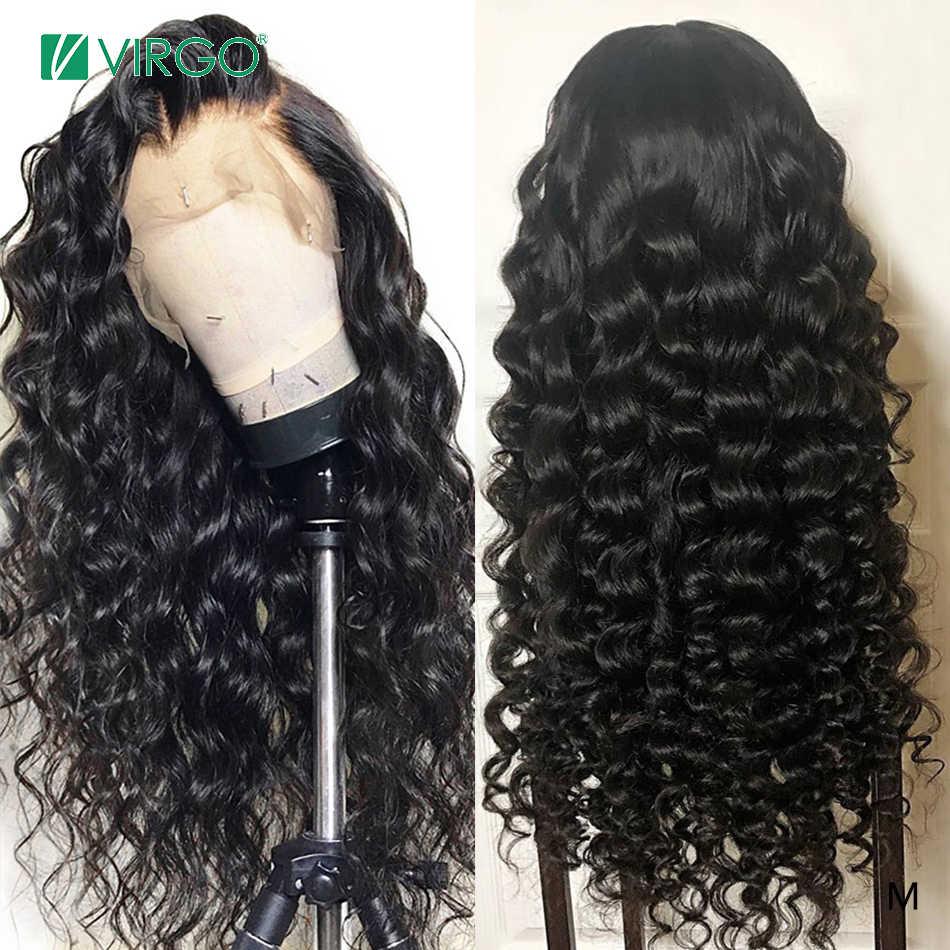 Virgo волосы свободная волна парик 13x4 кружевные передние человеческие натуральный