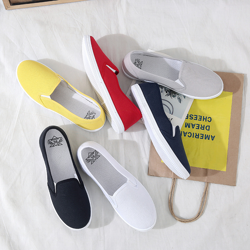 Large Size Women Flats  Loafers Canvas Slip On Flat Shoes Woman Sneakers White Casual Shoes Black Ladies Shoes Espadrilles 635