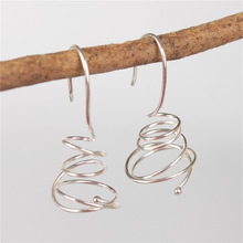 925 Sterling Silver Handmade Coil Wire Small Earrings For Women Fashion Creative Twisted Line Drop Earrings Party Gift