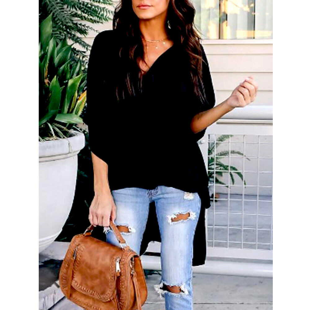Asymmetrical Blouse Batwing Sleeve V Neck Solid Asimetric Tunic Casual Chiffon Women Summer Loose Baggy Long Shirts Plus Size