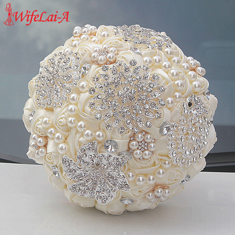 WIFELAI-A 9 Styles Ivory Silk Rose Wedding Flowers Bridal Bouquets Artificial Foam Flowers Bouquet Romantic Bride Holding Flower