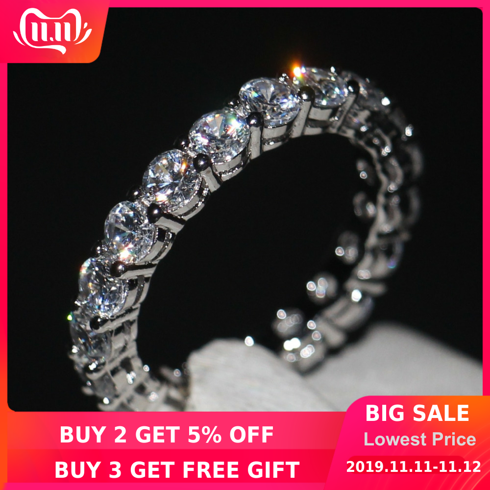 choucong Brand Women Fashion Jewelry Full Round 4mm 5A Zircon Cz 925 Sterling silver Engagement Wedding Band Ring
