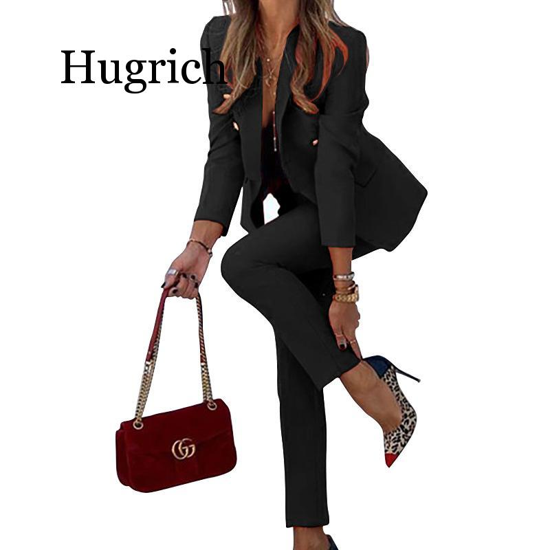 Winter Women Elegant Blazers Set Long Sleeve Coat + Pencil Pants Suit Office Lady Two Piece Suits Work Outfits Matching Sets