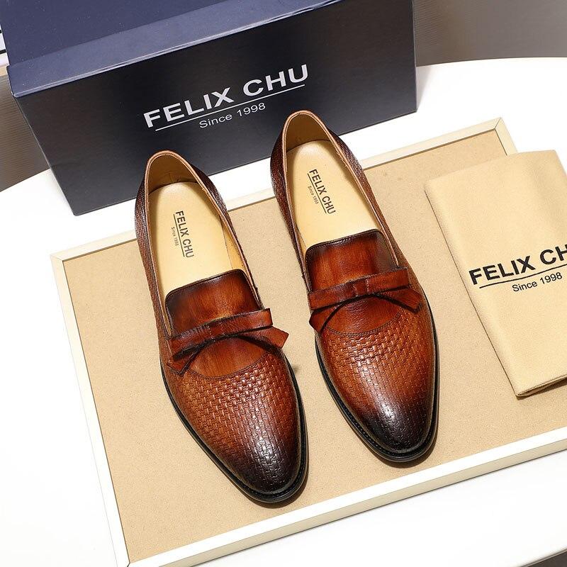 FELIX CHU/модные мужские свадебные лоферы из натуральной кожи с бантом; цвет коричневый, черный; комфортные классические туфли; мужская повседн... - 5