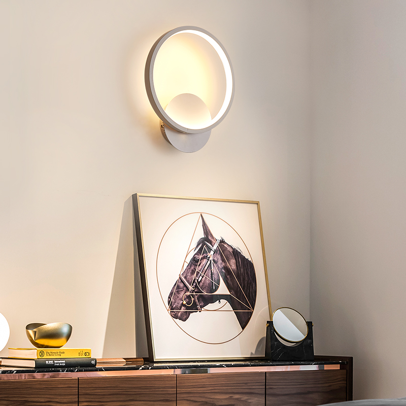 LED Wall Lamp Modern Living Room Bedroom Bedside White LED Sconce Creative Circle Antlers Plum Blossom Aisle Corridor Wall Light 3