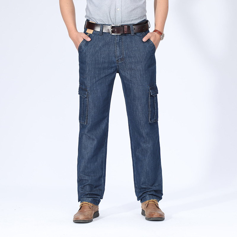 Jeep/Jeep Jeans Men's Straight-Cut Bib Overall New Style Bags Cowboy Stretch Trousers 125-2