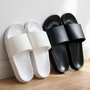Été maison hommes pantoufles Simple noir blanc chaussures anti-dérapant salle de bain diapositives tongs Couples intérieur femmes plate-forme pantoufles 1