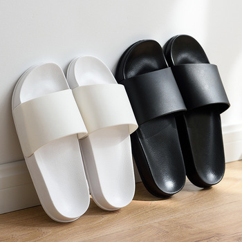 Summer Home Men Slippers Simple Black White Shoes Non-slip Bathroom Slides Flip Flops Couples Indoor Women Platform Slippers 2020 summer cool rhinestones slippers for male gold black loafers half slippers anti slip men casual shoes flats slippers wolf
