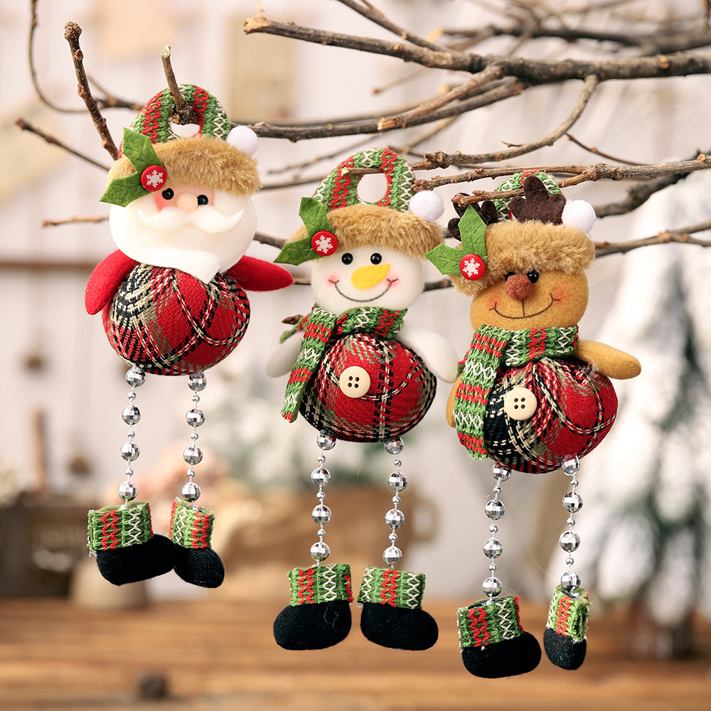 Christmas Santa Claus Snowman Deer With Beading Pendants Xmas Tree Ornaments DIY Crafts Home New Year Party Decorations YXL199