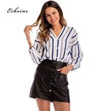 Echoine Women Tops And Blouses Stripe Print Sexy V-Neck Button Long Sleeve Fashion Office Lady Shirt Workwear Elegant Streetwear