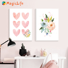 Pink Flower Love Wall Posters and Prints Canvas Painting for Living Room Nordic Art Pictures Decoration Unframed