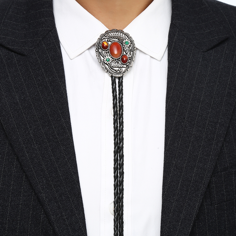 Red Agateds  Stone Leaf  Bolo Tie For Man Indian Cowboy Western Cowgirl Leather Rope Zinc Alloy Necktie