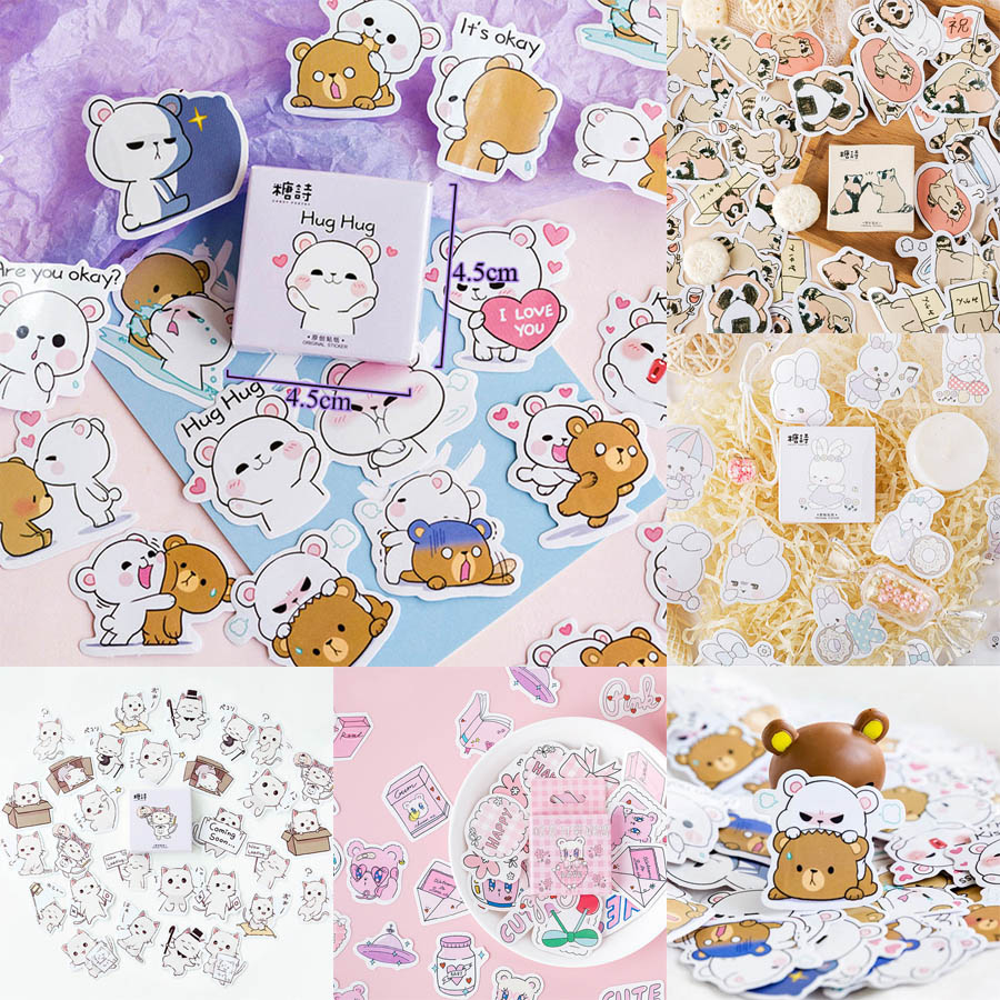 45Pcs/Box Cute Bear Stickers Kawaii Stationery Sticker Cartoon Adhesive Stickers For Decorative Bullet Journal Diary Photo Album
