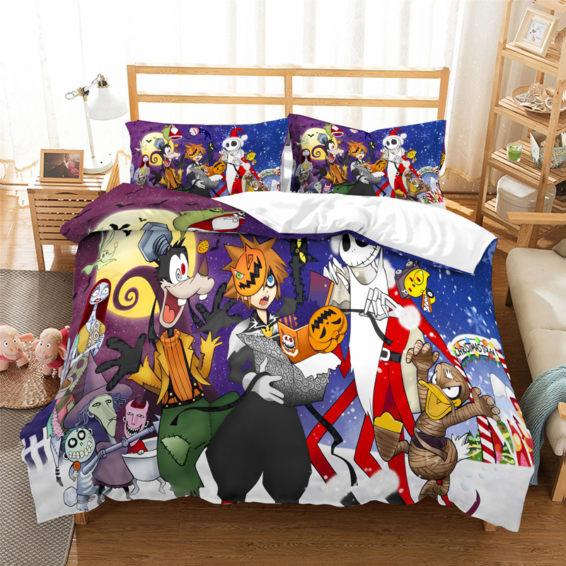 Kingdom Hearts Bedding Set Duvet Covers Pillowcases Comforter Bedding Sets Sora Riku Kairi Cartoon Anime Bedclothes Bed Linen