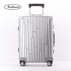 Image 4 - BeaSumore ใหม่ 100% อลูมิเนียมโลหะผสม Rolling กระเป๋าเดินทางคุณภาพสูงรถเข็นผู้ชาย 20 นิ้ว Cabin กระเป๋าเดินทาง
