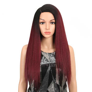 MAGIC Hair Synthetic Wigs For Black Women 28 Inch 70CM Heat Resistant Fiber Hair Long Ombre Brown Yaki Straight Lace Front Wig - DISCOUNT ITEM  50% OFF All Category