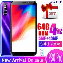 4G LTE P30 Pro smartphones 4GB RAM 64GB ROM 13MP 6,0 pulgadas identificación facial desbloqueado celulares quad core teléfonos móviles android wifi WCDMA