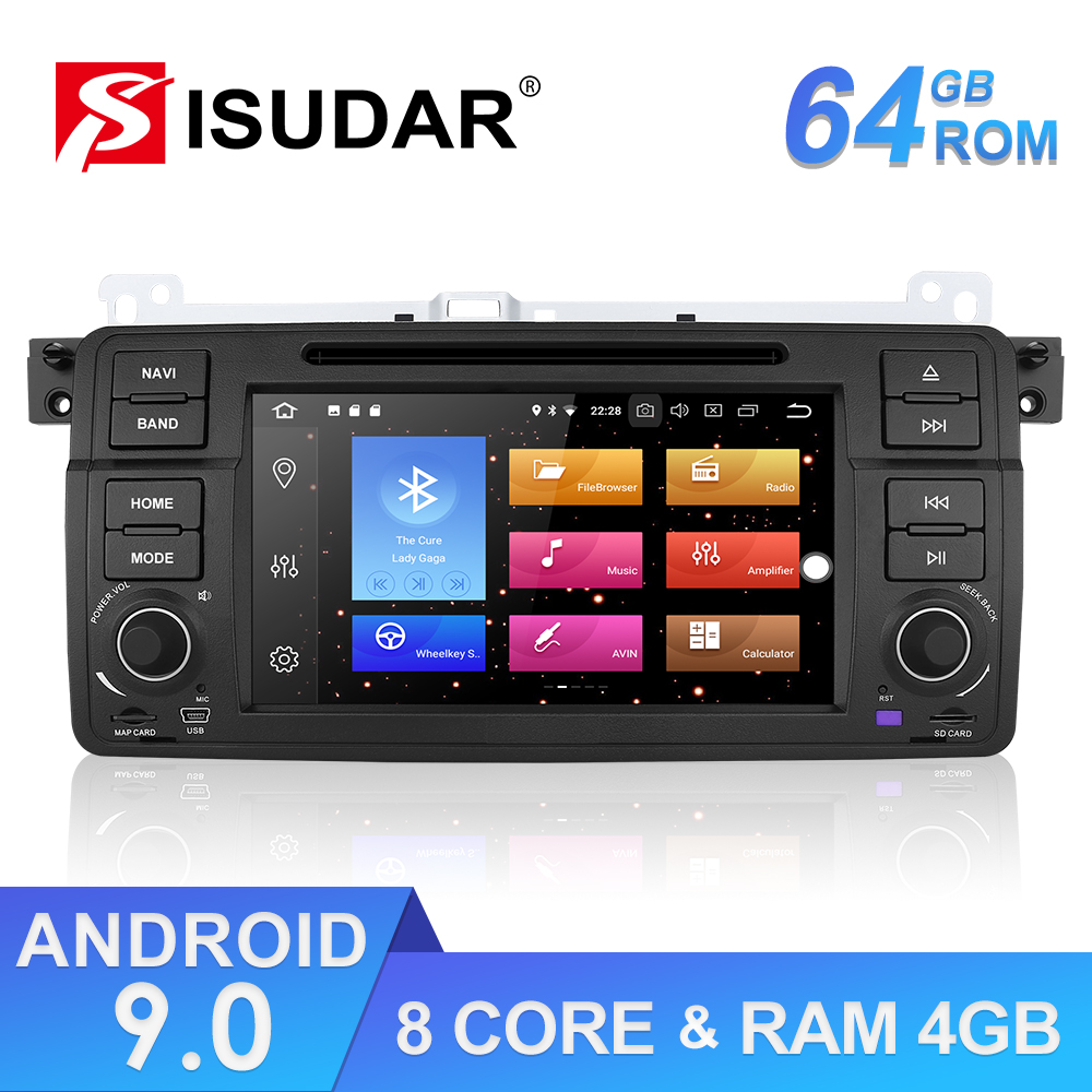 9 Isudar ROM GB 1 64 Din Android Rádio Auto Para BMW/E46/M3/Rover/3 série Do Carro Player Multimídia GPS Octa Núcleo RAM 4G DVD DVR DSP