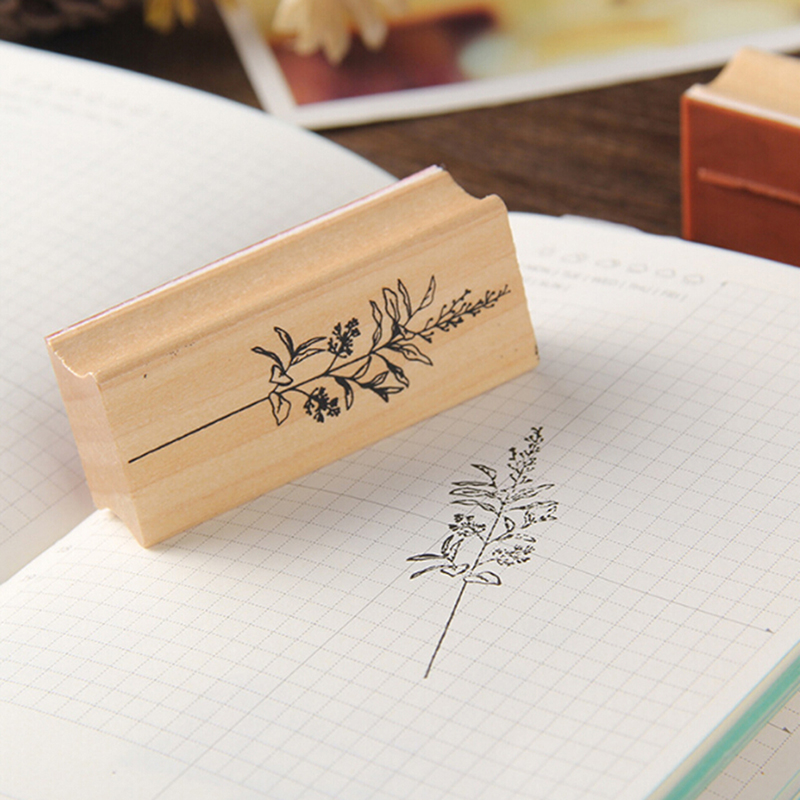 DIY Craft Flowers And Plants Set Boxed Wooden Seal Vintage Plant Stamp Wooden Rubber Stamps Scrapbooking Stationery