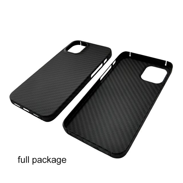 Real Pure Carbon Fiber Phone Case for Iphone 12mini 12 Promax Anti-Fall Hard Business Cover Aramid fiber case iphone12Case Shell 4