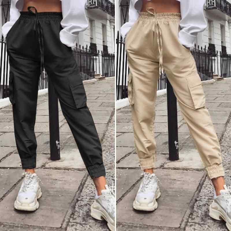 2020 di Modo ZANZEA delle Donne Pantaloni Della Signora Solido di Alta Wiast Pantaloni casual Tasche Cargo Pantaloni Lunghi Femminili Pantalones Streetwear