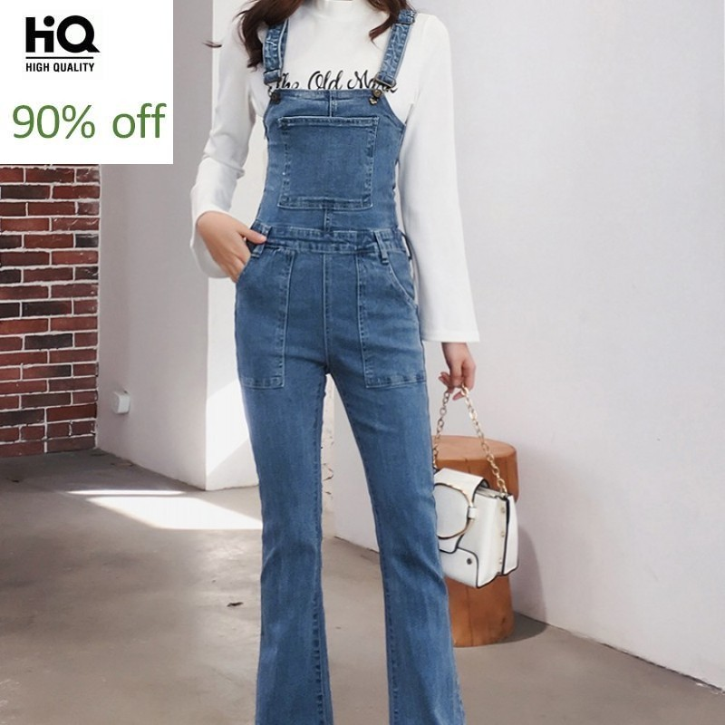 Street Denim Jumpsuit Women Vintage 2020 New Autumn Slim High Waist Trousers Washed Blue OL Style Flare Jeans Cowgirl Overalls