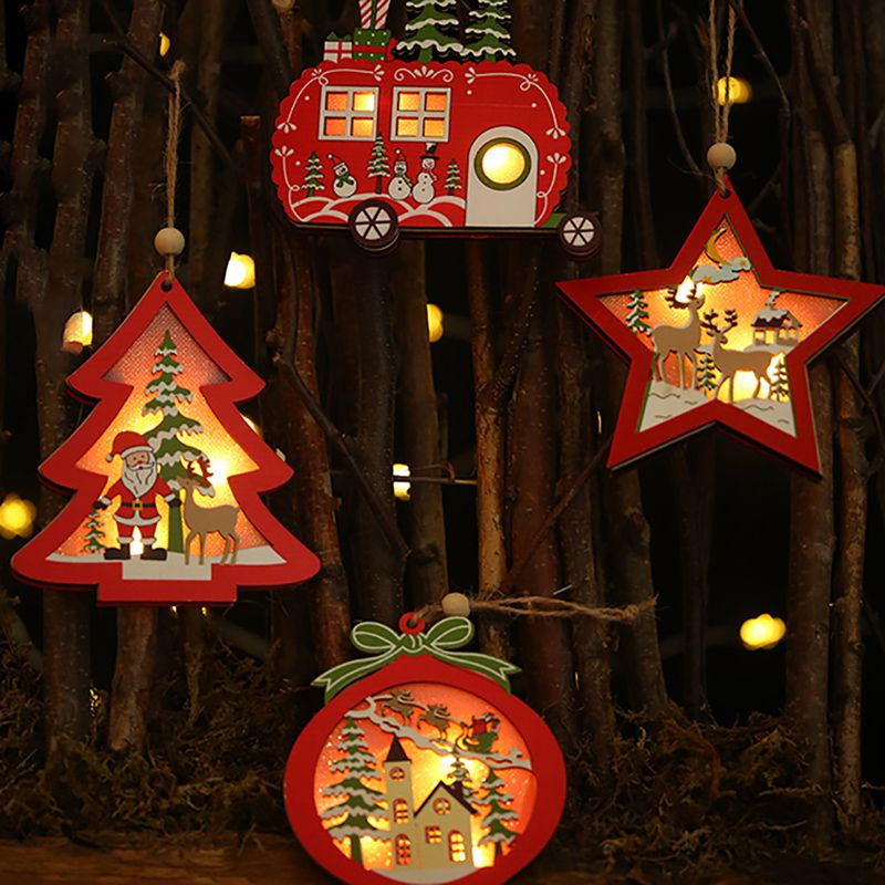 Us 2 45 30 Off 2019 Creative Christmas Led Light Up Wooden Decorative Hanging Ornaments Indoor Christmas Tree Party Bedroom Holiday Decoration In